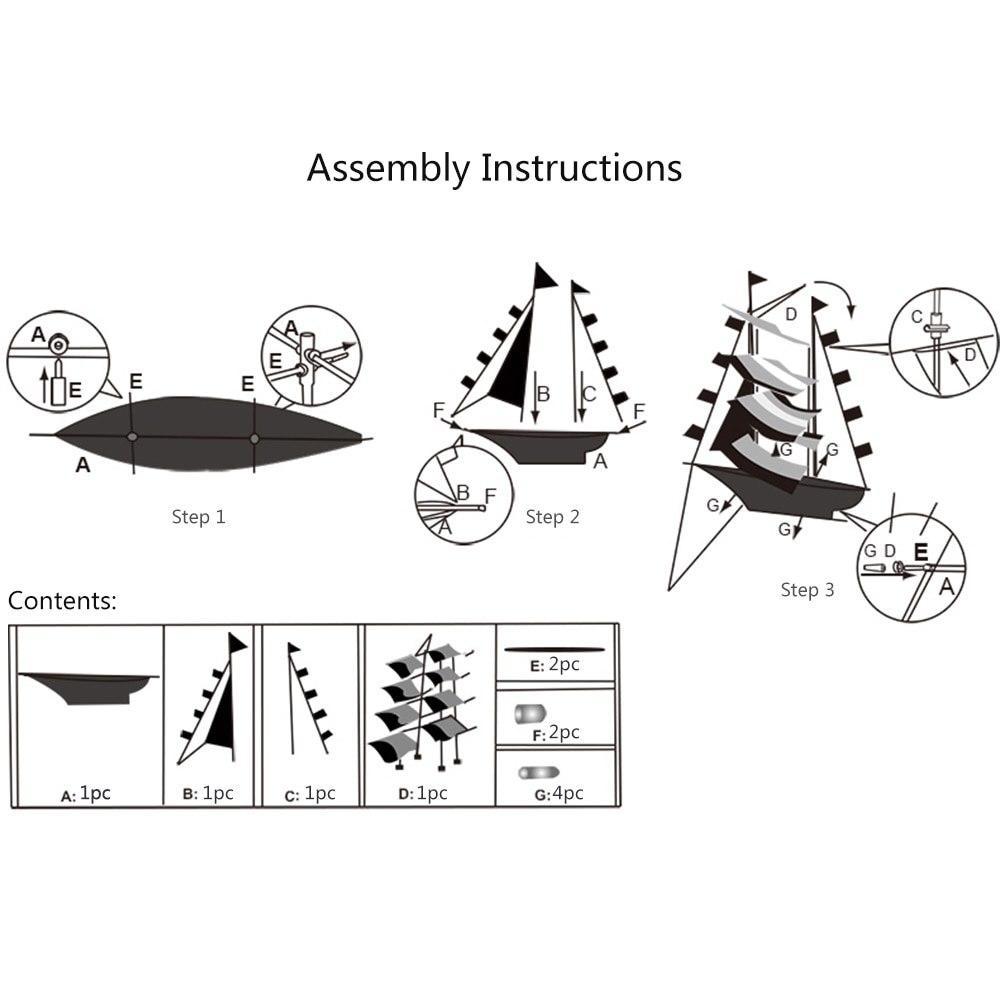 3D voiliers cerf-volant en plein air cerfs-volants jouets volants pour enfants et adultes voile bateau volant cerf-volant avec chaîne poignée Sports de plage en plein air - 4