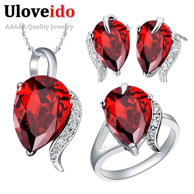 Nupcial sistemas de la joyería de plata esterlina de la joyería de la boda joyería de las mujeres de red cubic zirconia anillo pendientes pedante uloveido t300