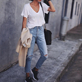2017 Fashion Vintage Ladies Retro Ripped High Waist Jeans Woman Slim Pencil Casual Denim Trousers Boyfriend Jeans for Women