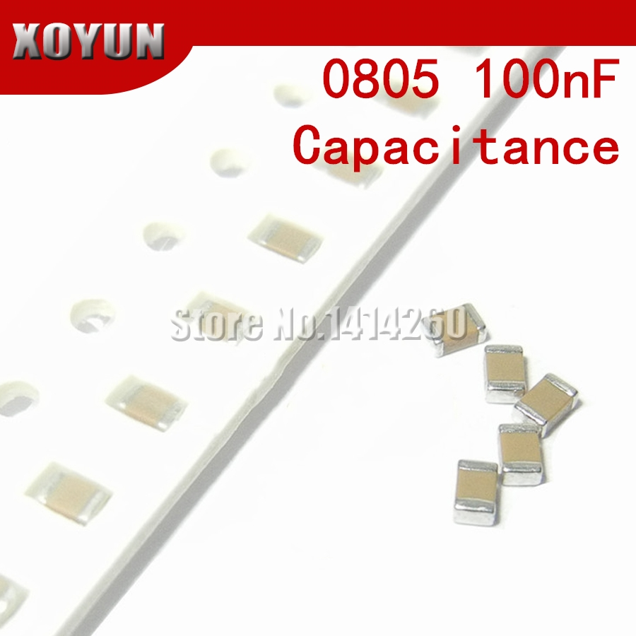 100pcs 0805 100nF X7R Error 10% <font><b>50V</b></font> 0805 <font><b>0.1UF</b></font> 104 SMD Thick Film Chip Multilayer <font><b>Ceramic</b></font> <font><b>Capacitor</b></font> image