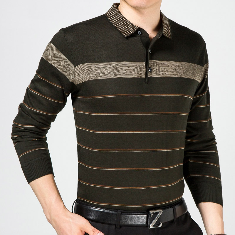 2018 casual long sleeve business mens shirts male striped fashion brand polo shirt designer men tenis polos camisa social 5158 1