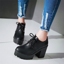 YMECHIC otoño 2019 nueva llegada Vintage vino rojo negro cordones bloque tacones gladiador zapatos de plataforma mujer Creepers mujeres bombas