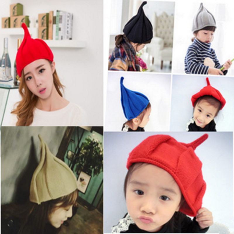 2016 New Autumn and Winter Fashion Baby Sharp Angle Hat 9 Colors Hot Sale Wool Cap Ear Baby Pumpkin parenting Cap free shipping the new children s cubs hat qiu dong with cartoon animals knitting wool cap and pile