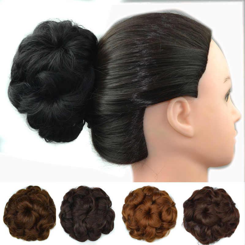 Jeedou Bunga Updos Rambut Sanggul 50G Rambut Sintetis Bun Pad Karet Band Ekstensi Hitam Coklat Wanita Warna Hairpieces