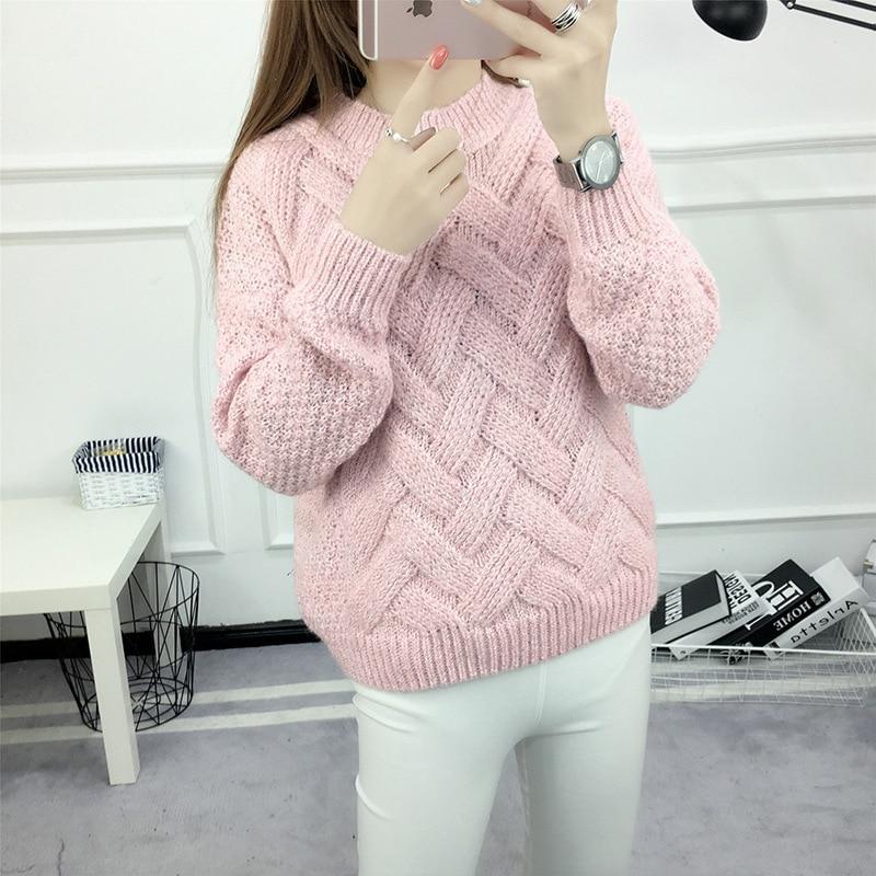 2017 Invierno Para Mujer Suéter tejido femenino color puro