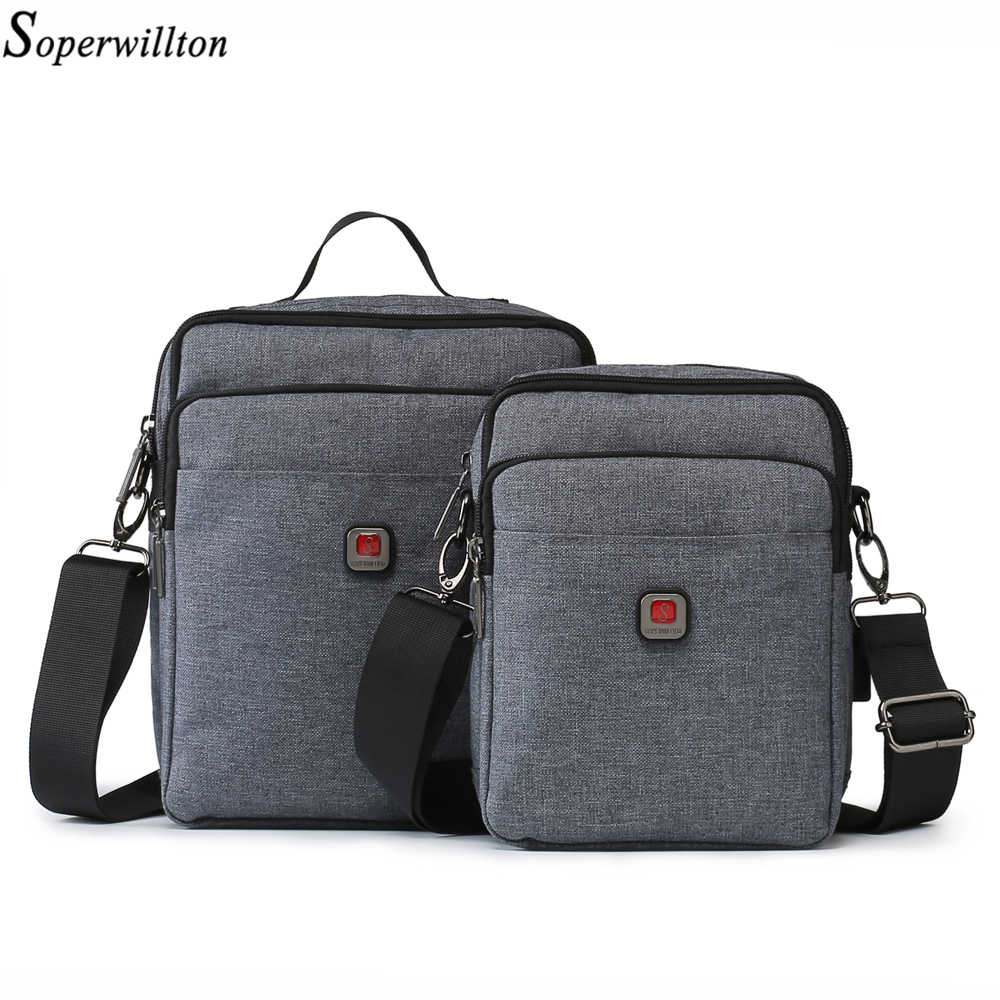 Soperwillton 2019 Men Shoulder Bag Handbag Casual Men's Bag USB charging Port Travel Bags Water-resistent Oxford Zipper Bag Male