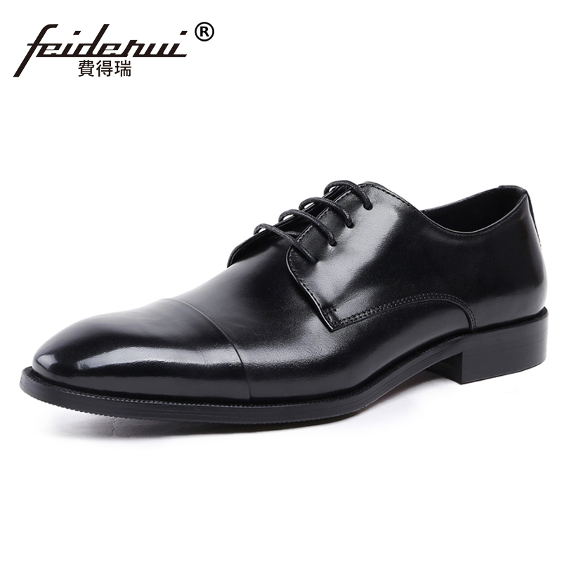 New Vintage Man Derby Formal Dress Office Shoes Genuine Leather Round Toe Lace up Men's Handmade Wedding Party Footwear JS19 plus size new arrival men s formal dress office footwear genuine leather round toe lace up man derby wedding party shoes ymx410