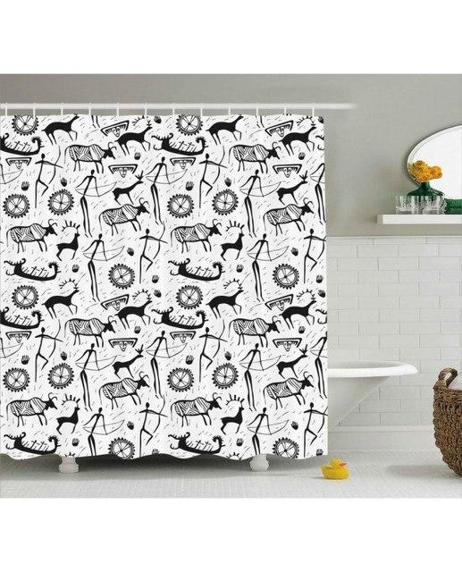 Tribal Shower Curtain Africa Primitive Pattern Print For Bathroom Waterproof And Mildew Resistant Set Hooks