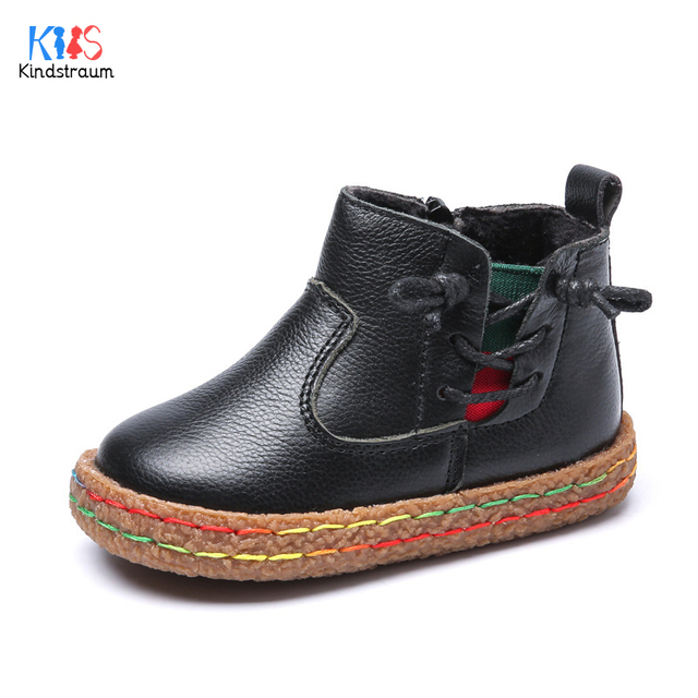 2017 New Winter Toddler Warm Genuine Leather Ankle Boots Kids Top Quality Bright Anti-Slip Plush Shoes for Boys & Girls,EJ031