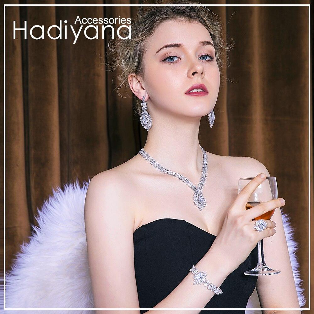 Hadiyana Nuova Principessa Monili di Cerimonia Nuziale Set Con Artiglio Intarsio Zircone Cubico di Alta Qualità Collana di Gioielli Da Sposa 4 pcs Set BN7659