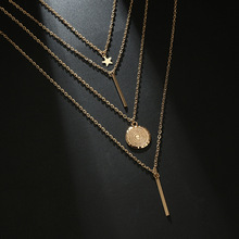 RscvonM  New Vintage Boho Multi-layer Pendant Necklace for Women Gold Star Horns Metal Necklace Tribal Silver Necklace Collar