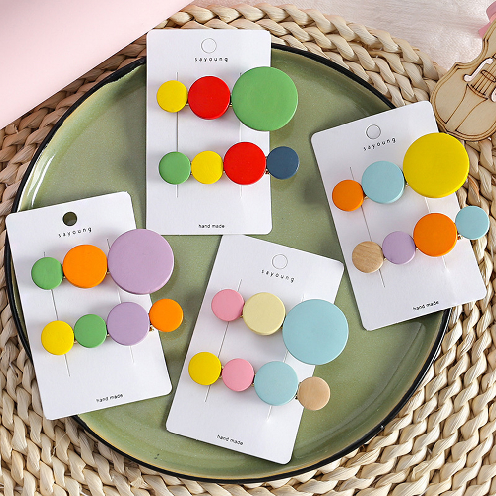 New Colorful Beads Hair Clips Scrub Candy Color Headband Geometric Round Hairpins Hair Accessories for Women Girls   Headwear