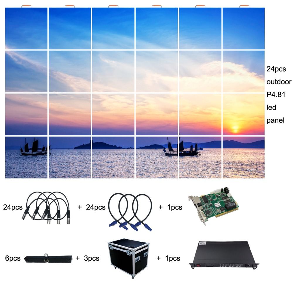 3x2m Outdoor P4.81 Portable Led Display Screen For Events And Stage Backgound With Video Processor, Flight Case And Hanging Bar