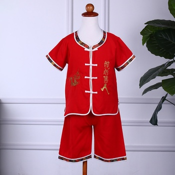 Baby Boys Clothes Toddler Clothes Sets Short Sleeve Chinese Style Embroidery Printed T-Shirt Tops+Shorts Casual Outfits conjuntos casuales para niñas