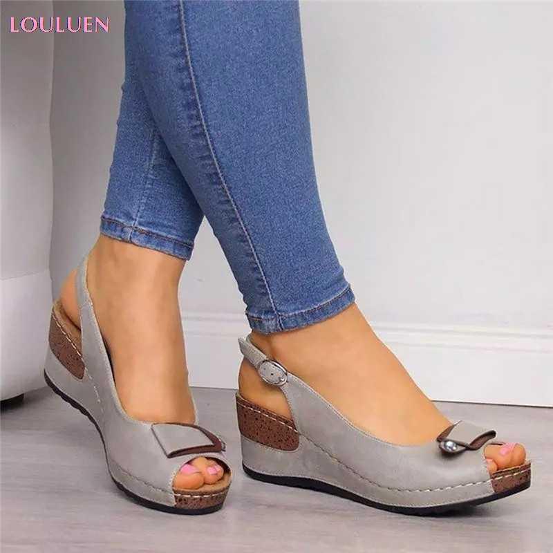 LOULUEN 2019 sandales mode femmes plage été sandales à talons compensés pompes cheville boucle bout ouvert sandales décontractées 35-43 Drop #0709