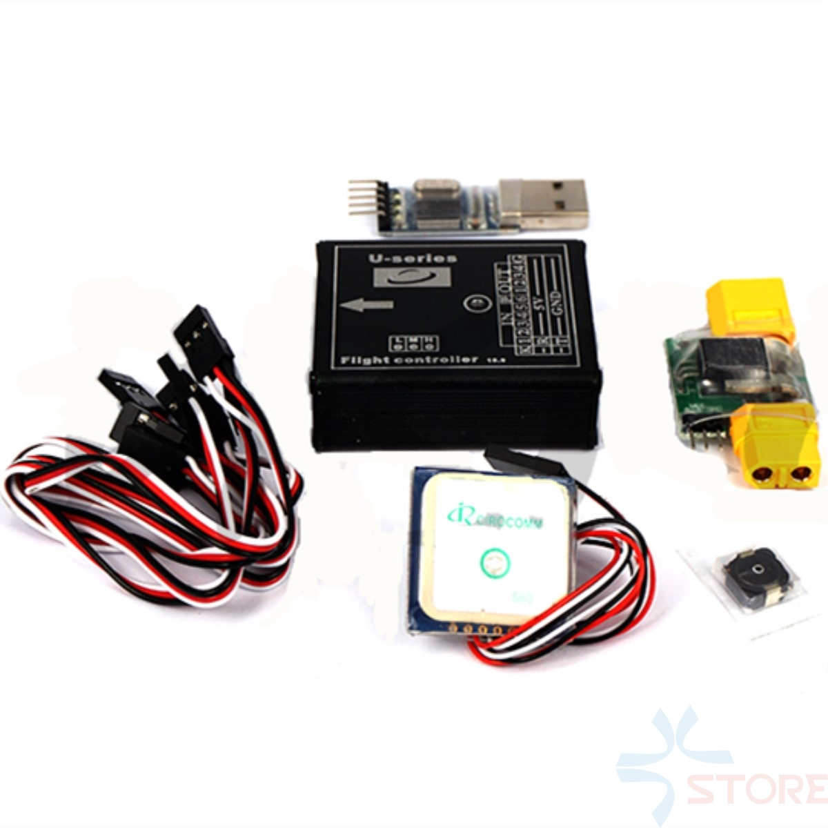 U22 Flight Control System Autopilot Mainboard + GPS + Current Meter + USB Upgrade Cable + Inductance + 6 Pairs Servo Cables rctimer atlas flight control system included gps