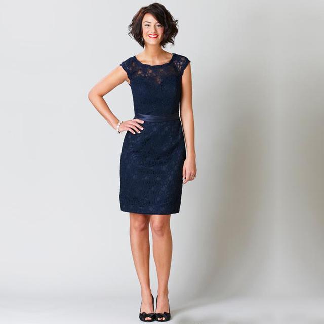 2017 Azul Marinho Vestidos de Dama de honra do Laço Curto Mini Traseira Aberta colher da luva do tampão vestido formal do partido maid of honor dresses FQ14