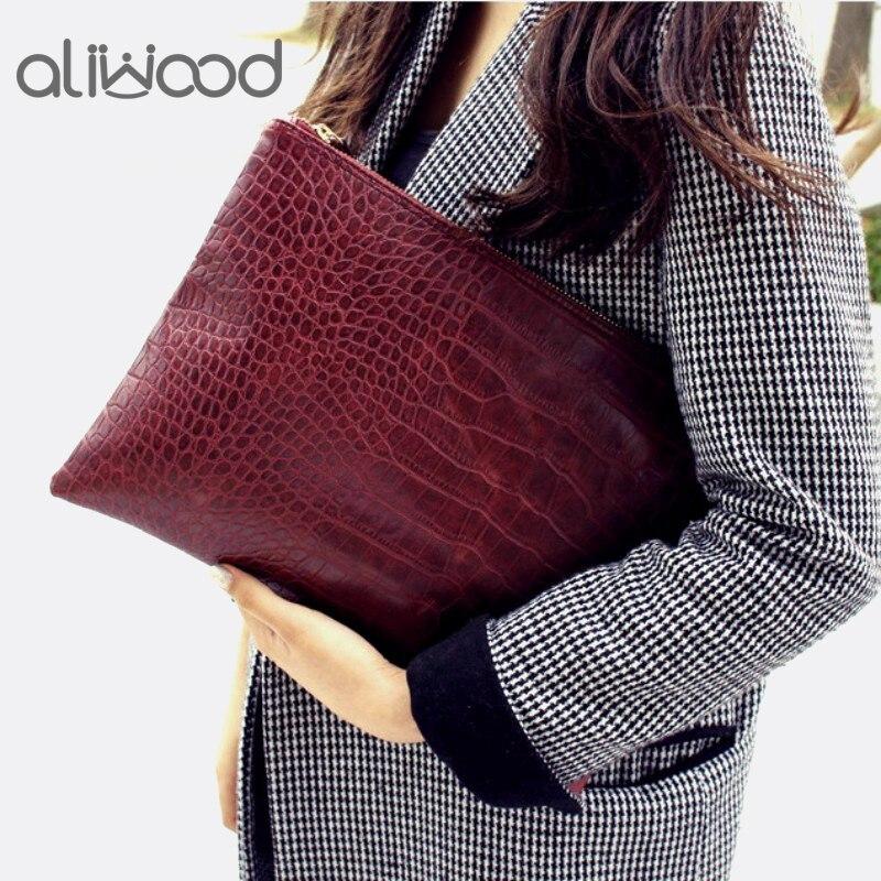 Aliwood Berühmte Marke Tasche Frauen Tag Kupplungen Alligator Krokodil Leder Tasche Umschlag Taschen Frauen Kupplung Tasche Weibliche Handtasche Bolsas Exquisite Traditionelle Stickkunst