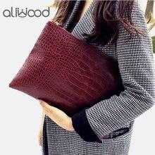 Aliwood известная марка сумка Для женщин Ежедневные клатчи Аллигатор Крокодил кожаная сумка-конверт Для женщин клатч Женский Сумочка Bolsas