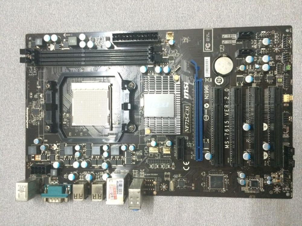 Livraison gratuite origine carte mère Pour MSI NF725-C35 Socket AM3 DDR3 Bureau carte mère
