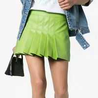 Office Ladies Faux Leather Mini Skirts 2019