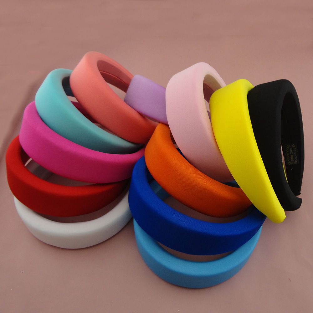 Sponge Filled Skinny Fabric Covered Chunky Headbands Fashion Thick Hair Hoops Plastic Hairbands For Girls Headpieces