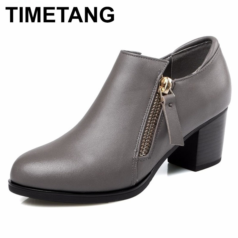 TIMETANG Autumn New Women's High Heels Pumps Deep Mouth Thick Heel Round Toe Genuine Leather Woman Shoes for office lady Women