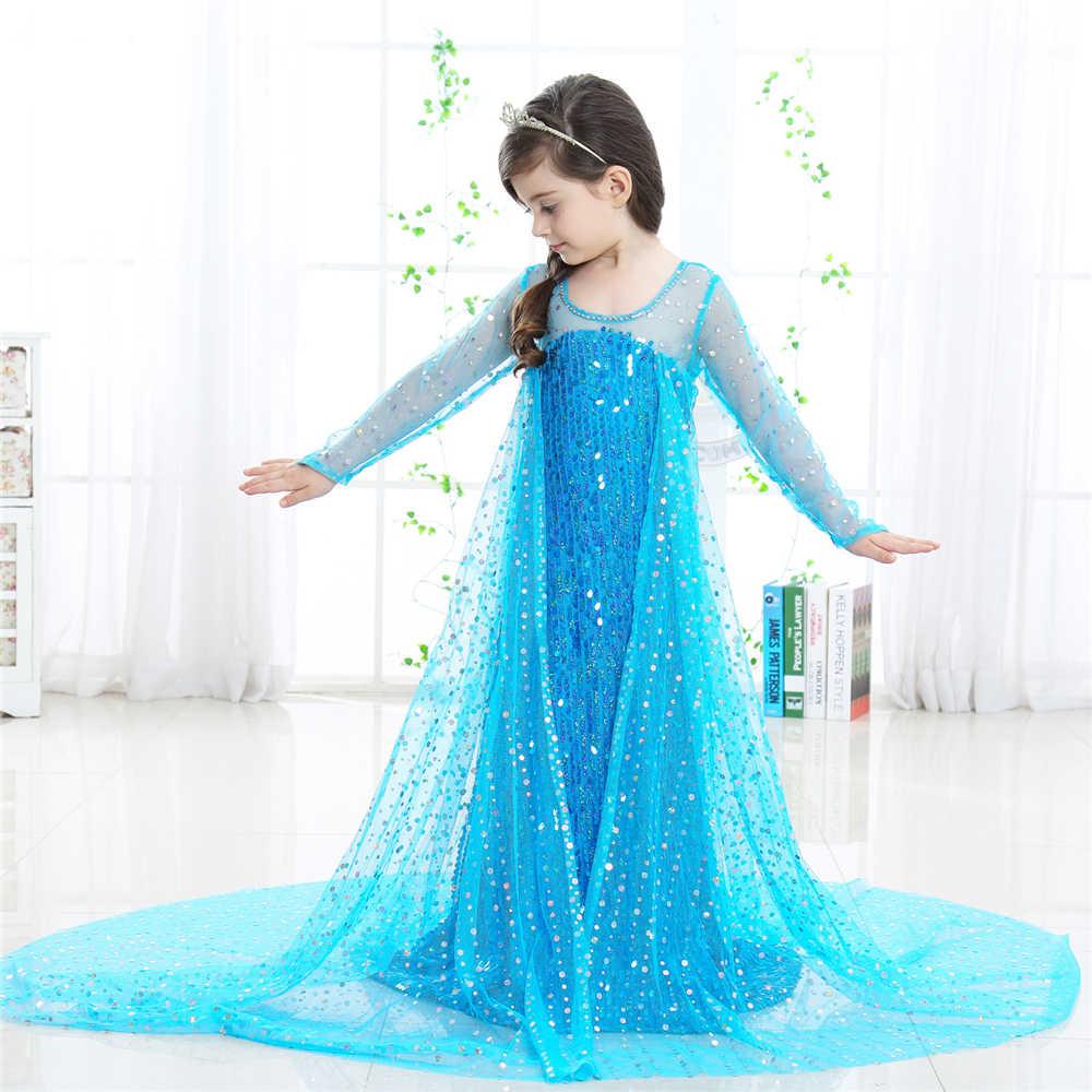 e2bb98cff71e7 ... Baby Girls Elsa Dress Floor Length Princess Birthday Party Ball Gown  Children Snow Queen Sequins Tulle ...