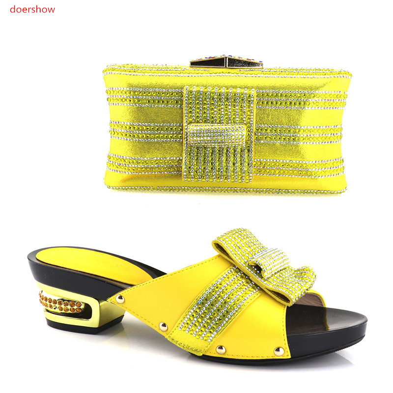 doershow African Party Italian Shoes with Matching Bags for Women Italian Ladies Shoe and Bag Set Decorated with stones SHV1-21 african shoes and matching bags italian shoes and bag set women pumps italy ladies shoes and bag set doershow hlu1 51
