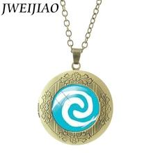 JWEIJIAO Glass Cabochon Princess Moana Locket Pendant Cartoon Movie Principessa Baby Maui Statement Necklace Jewelry CT01