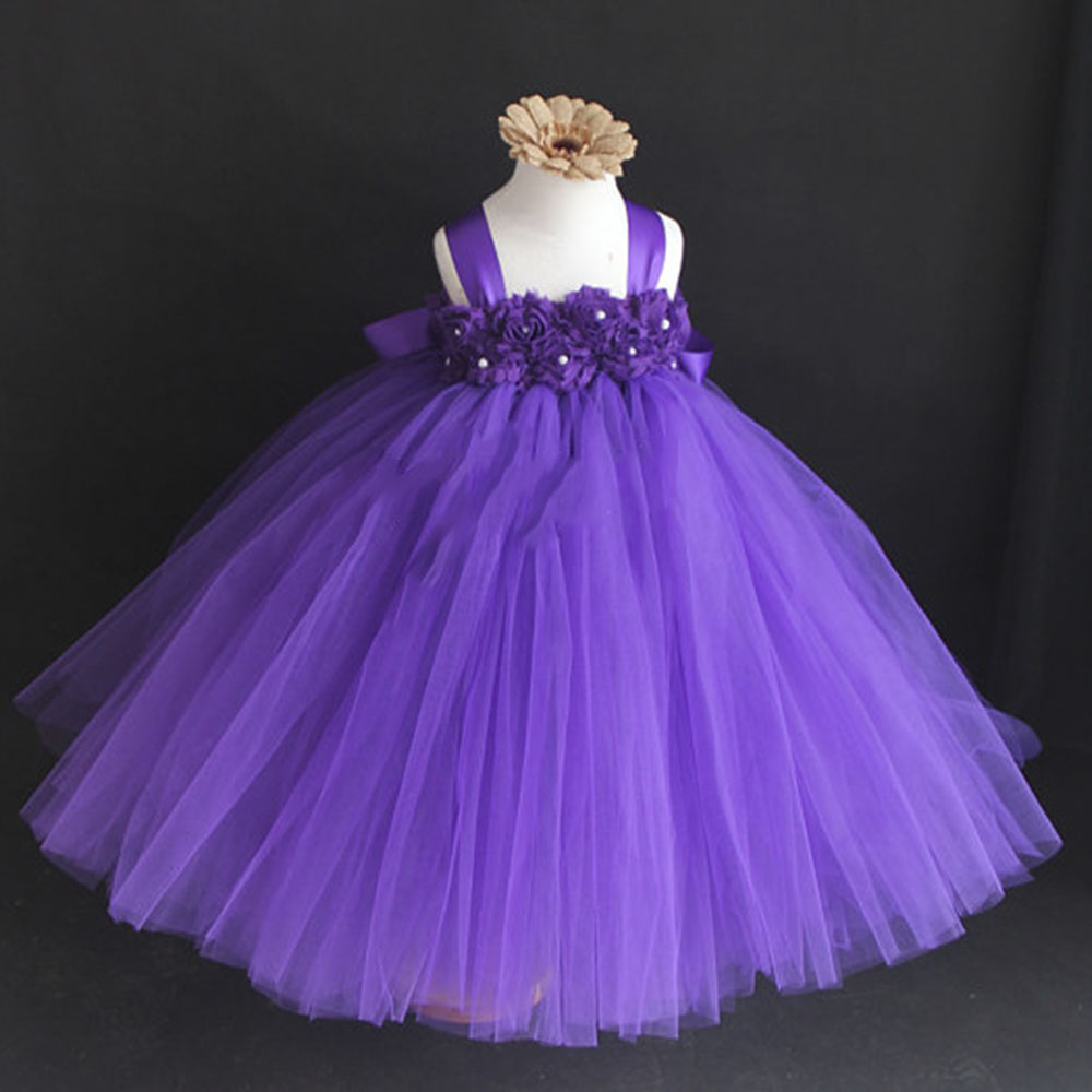 Aliexpress.com : Buy Elegant Flower Tutu Dress Pink Beige Purple ...
