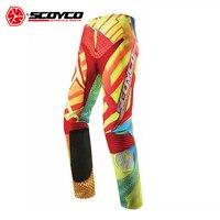 Профессиональный Scoyco штаны для мотокросса Off Road беговые штаны мотокроссу дышащие мотоциклетные брюки Pantalon CE протекторы
