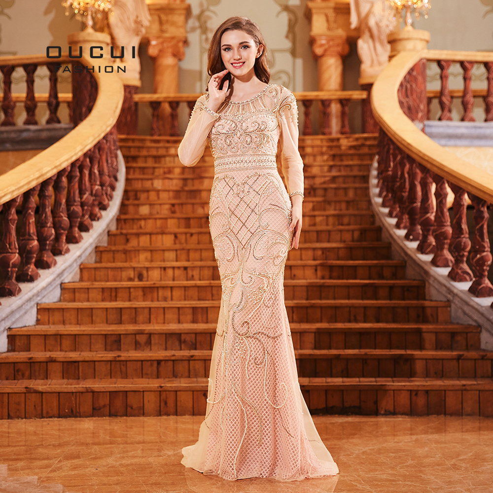 Oucui New 2019   Prom     Dresses   Elegant Romantic Pink Vestido Full Sleeves Beading Pearls Mermaid   Dress   Long Women Party OL103298