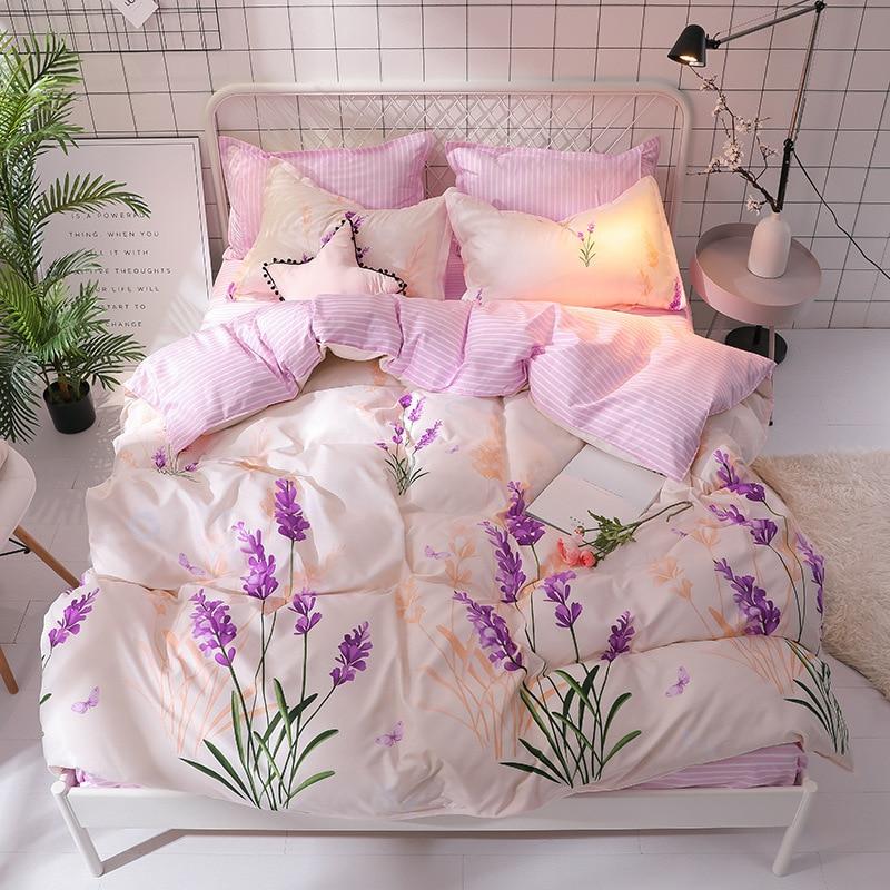 الخزامى مجموعة مفروشات المرأة شريطية دوفيت تغطية مجموعة الصيف الوردي ورقة مسطحة ، المخدة و حاف الغطاء ورقة السرير الكتان مجموعة الملكة حجم