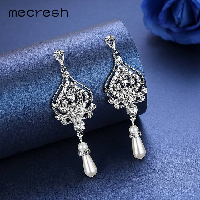 Mecresh Simulated Pearl Chandelier Wedding Earrings for Women Silver Color  Crystal Party Hanging Brincos Christmas Jewelry 2480fad19dd4