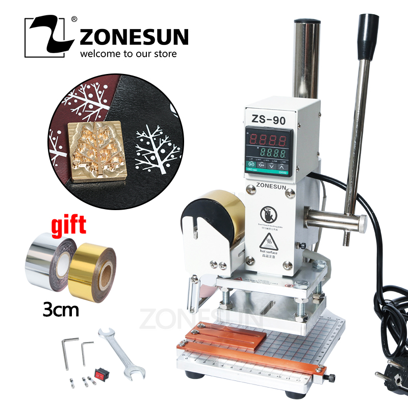 ZONESUN 3 size Hot Foil Stamping Machine Manual Bronzing Machine for PVC Card leather and paper stamping machine small bottle filling machine
