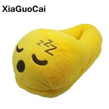 XiaGuoCai Winter Women Slippers Emoji Warm Plush Slippers Yellow Cartoon Cute Indoor Home Slippers Couple Furry Shoes 20 Styles