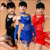 NEW Child Girls Kids Cheap Sexy Black Blue Red Pink Sequin Fringe Salsa Dancewear Dance Costume