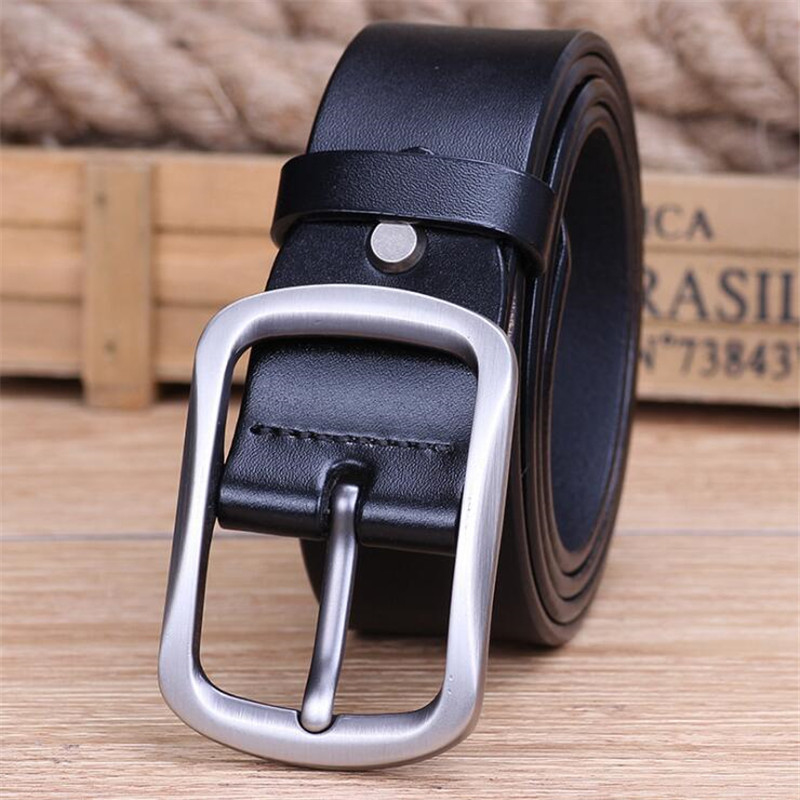 LannyQveen 100% cowhide genuine leather belt pin buckle alloy belts for men high quality male belts free shipping