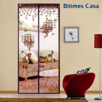 Floral Pattern Door Curtain Screen Long Stripe Magnets Smooth Closure 110 210CM Feminine Style With Lace