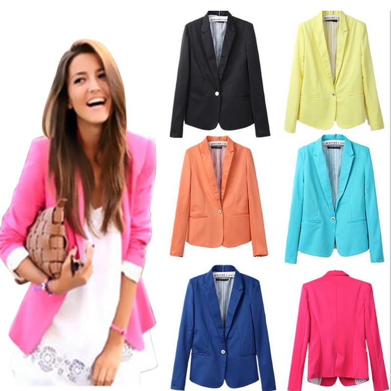 ZA 2018 Office Lady Single Button Blazers New 2017 Autumn Winter Slim Candy Colors Jackets Suit Women Casual Cotton Blazers