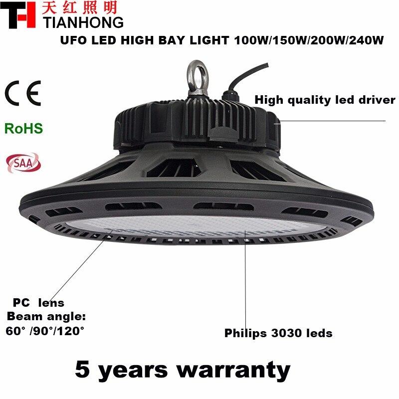 روشنایی بالا 240w صنعتی رهبری لامپ نور خلیج بالا خلیج چراغ بالا ufo منجر چراغ بالا خلیج 240W تا 35000LM