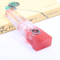 Natuurlijke Kristal Rode Fused Vierkante Tabak Sigarettenhouder Weed Pijp Kerstcadeau Woondecoratie Groothandel