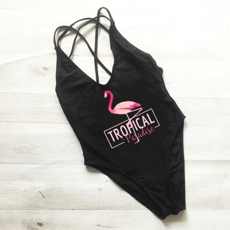 Swimwear Monokini Bodysuit Flamingo-Print Maillot-De-Bain One-Pieces Sexy Femme Cross-Back