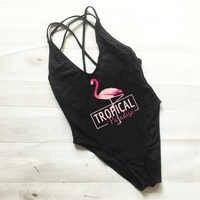 Flamant rose imprimé maillot de bain femme une pièce dos croisé maillots de bain monokini Sexy body mayo rouge maillot de bain femme