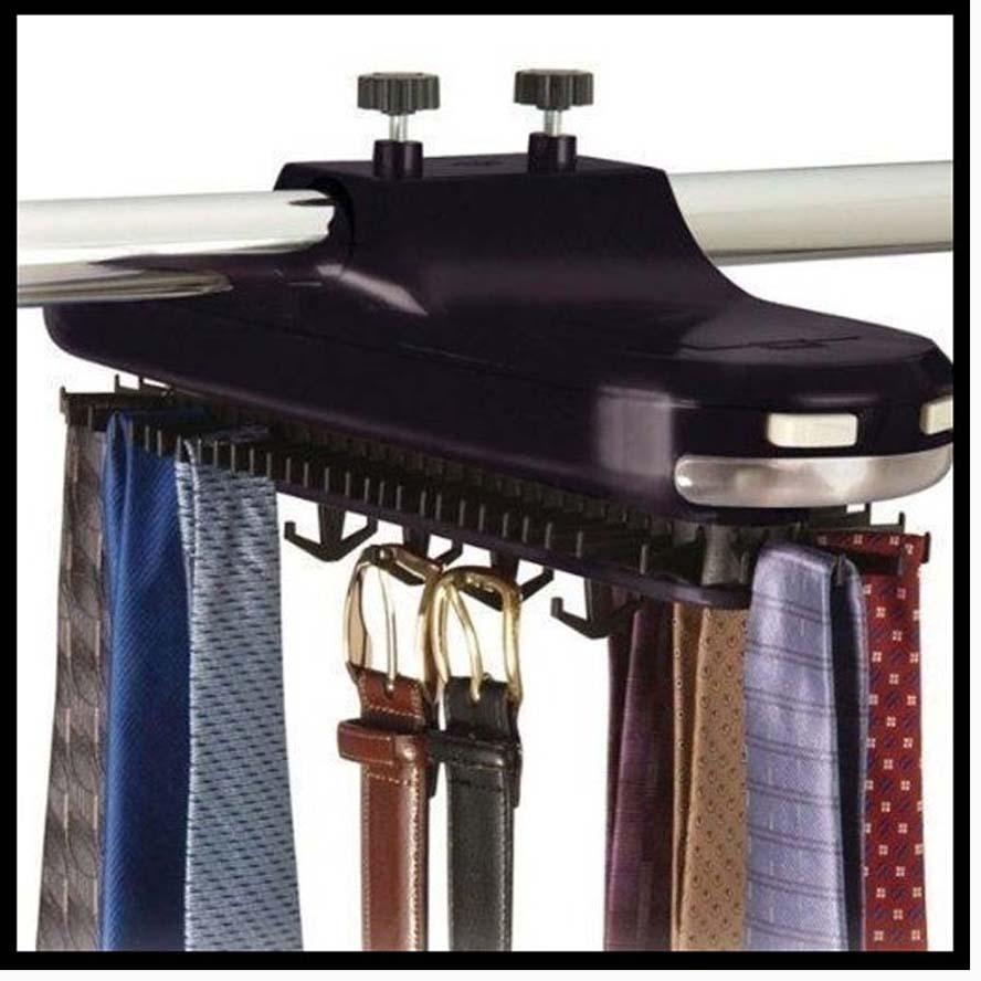 Revolving Electric Neck 30 Tie Rack Hanger Belt Organizer Hold Closet Led Light