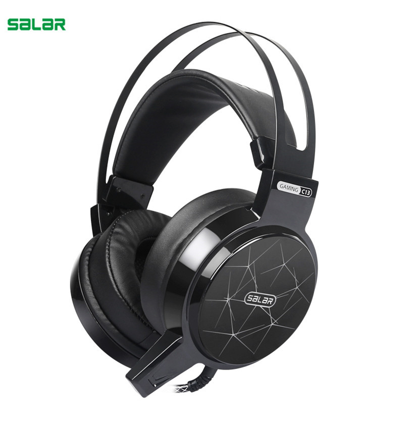 SALAR C13 Wired Gaming Headphone Headset Bass Omnidirectional 3D Noise Reduction LED Headphone with Mic for PC Auriculares