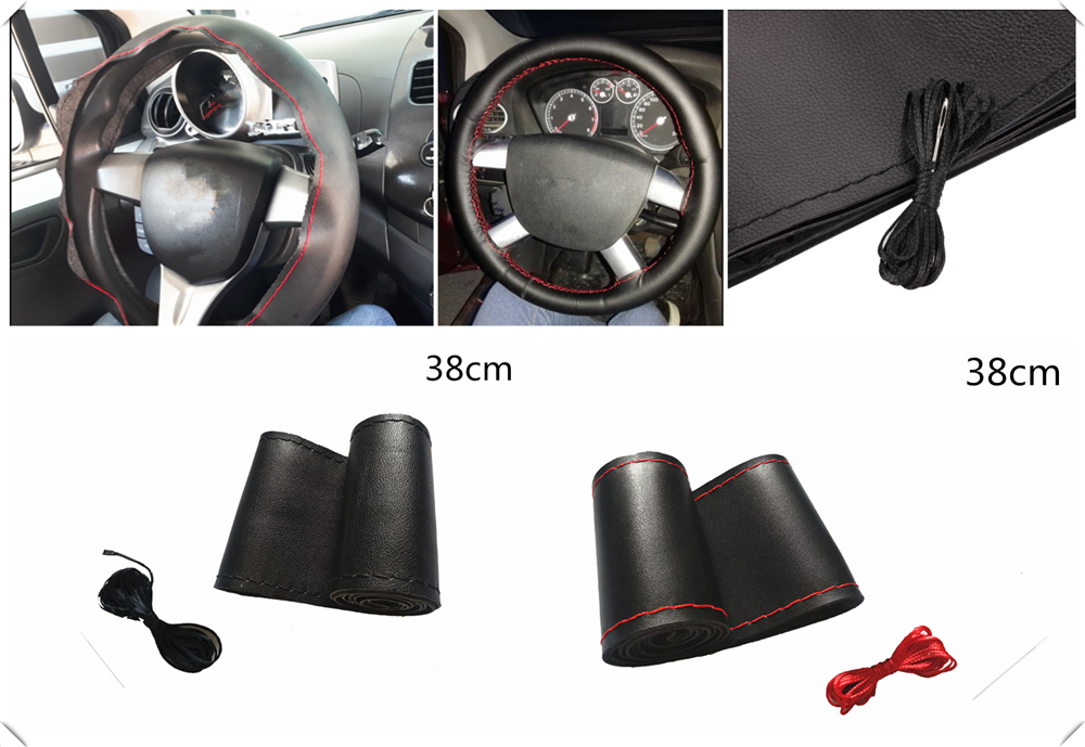 Car steering <font><b>wheel</b></font> cover DIY size 38 cm fiber leather hand-sewn for Mercedes Benz W211 W203 W204 W210 <font><b>W124</b></font> AMG W202 CLA image