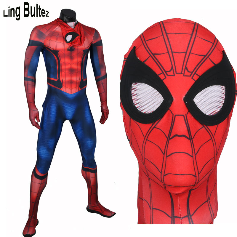 Ling Bultez High Quality Captain America Spiderman Costume Civil War Spiderman Spandex Suit Tom Holland Spiderman Costume