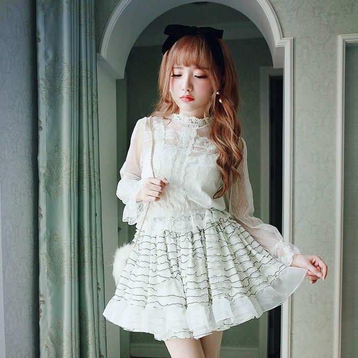 Princesse douce lolita jupe BOBON21 décoration noir et blanc rayé doux cireux jupe à gâteau une ligne douce fille B1397